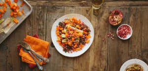 Red Rice with Roasted Squash, Leeks and Pepitas. Image by Plated.