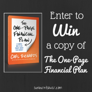 Enter to win your copy of The One-Page Financial Plan and get back on budgeting track!