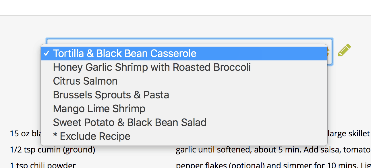 An example of the drop-down, switch out recipes menu on The Dinner Daily