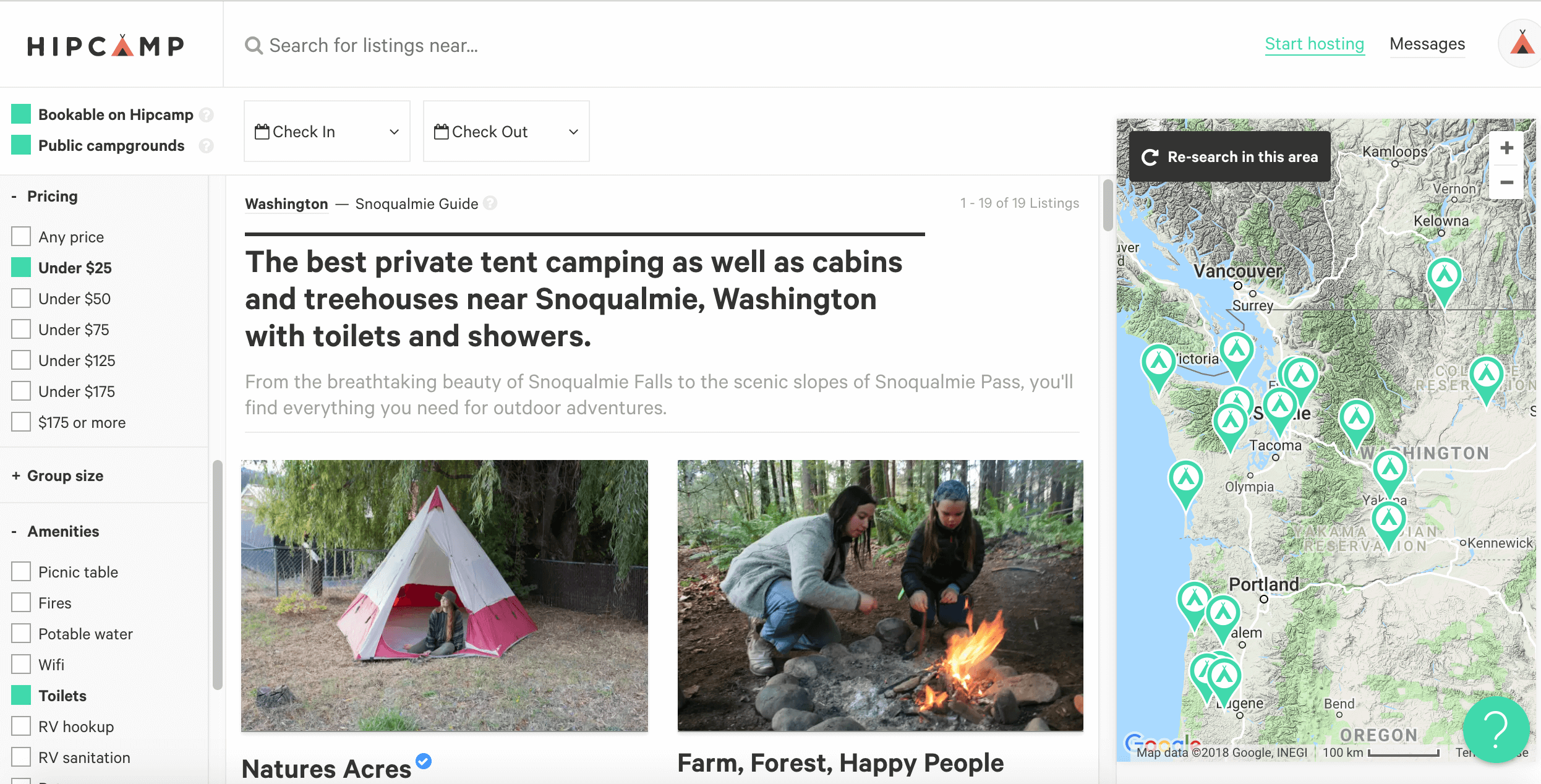 HipCamp site, ways to filter