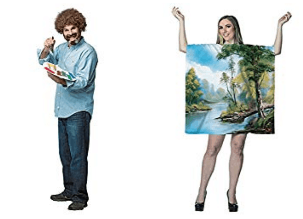 image of Bob Ross and painting Halloween couples costume